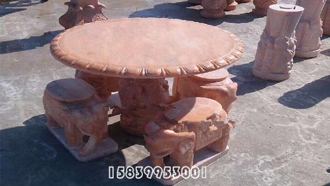 晚霞红雕刻石桌石凳